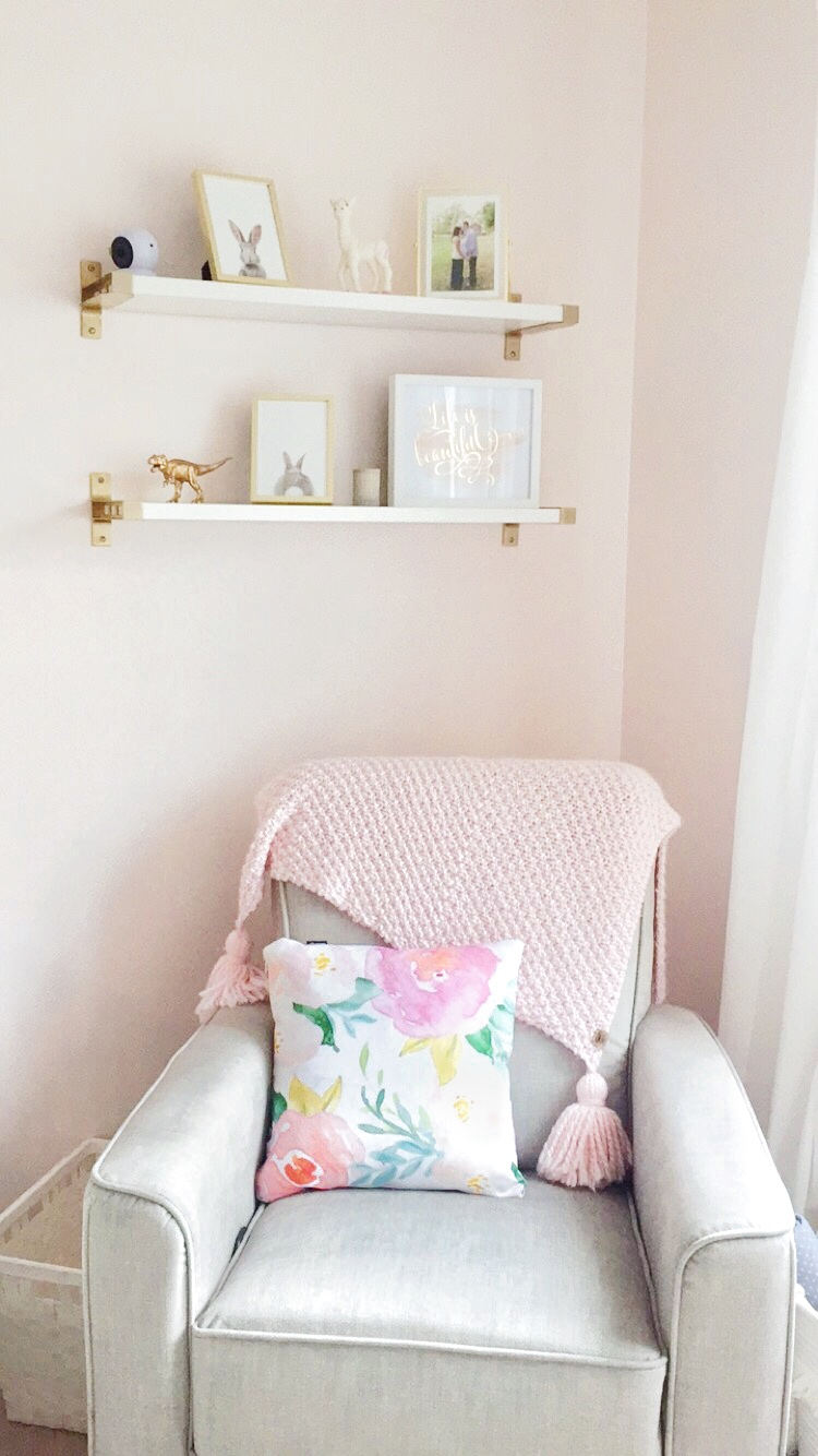 Ikea Ekby Bjarnum Shelves / Etsy Bunny prints / @MillieBearBlooms giant tasseled knit blanket / @Society6 watercolour pillow