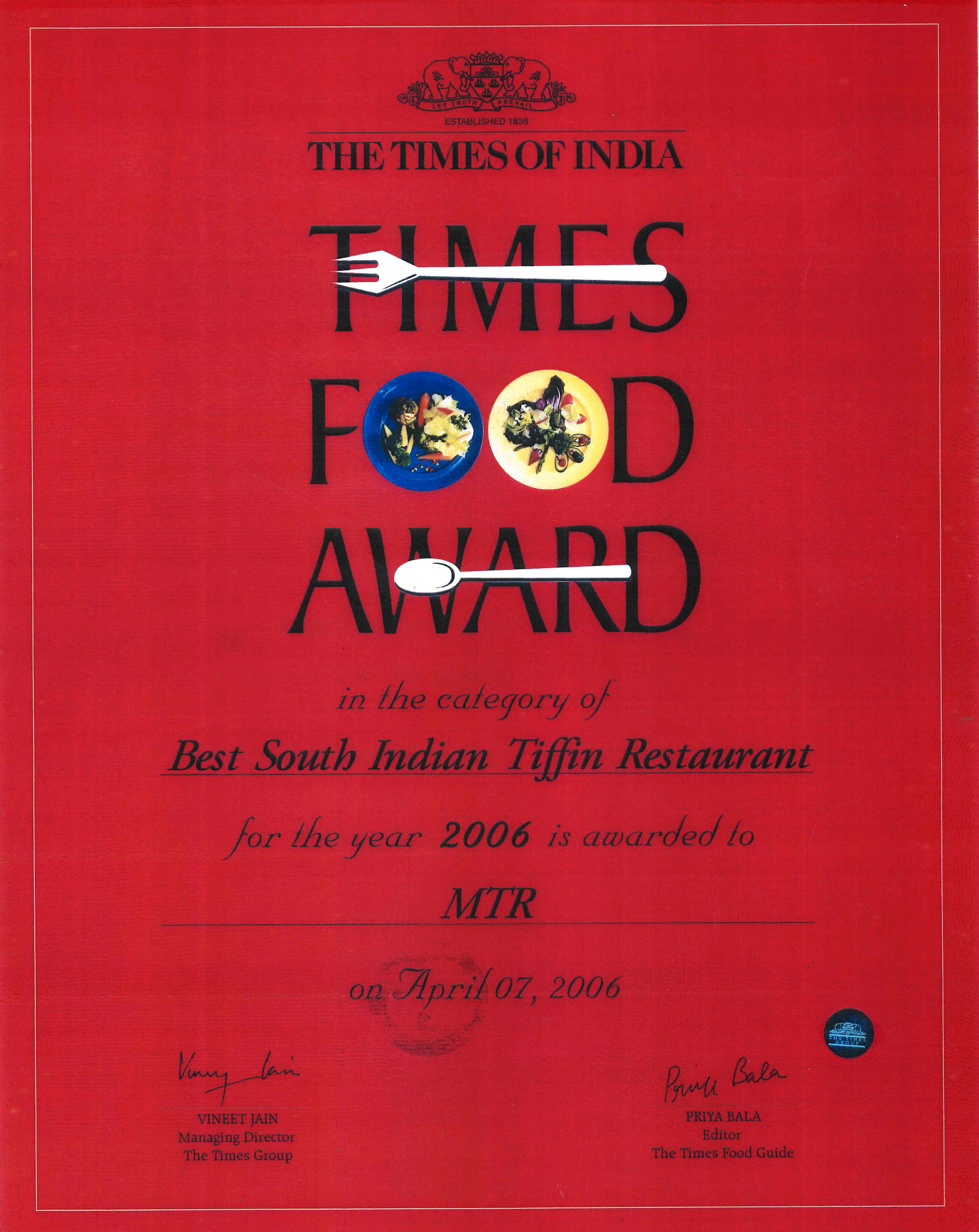 Times FA - Best South Indian Tiffin - 2006.jpg