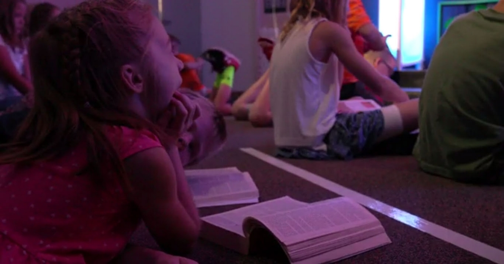 Elementary - Kindergarten to 5th graders learn about God in large group games, Bible story and worship before breaking off into age-specific small groups with Godly adults.
