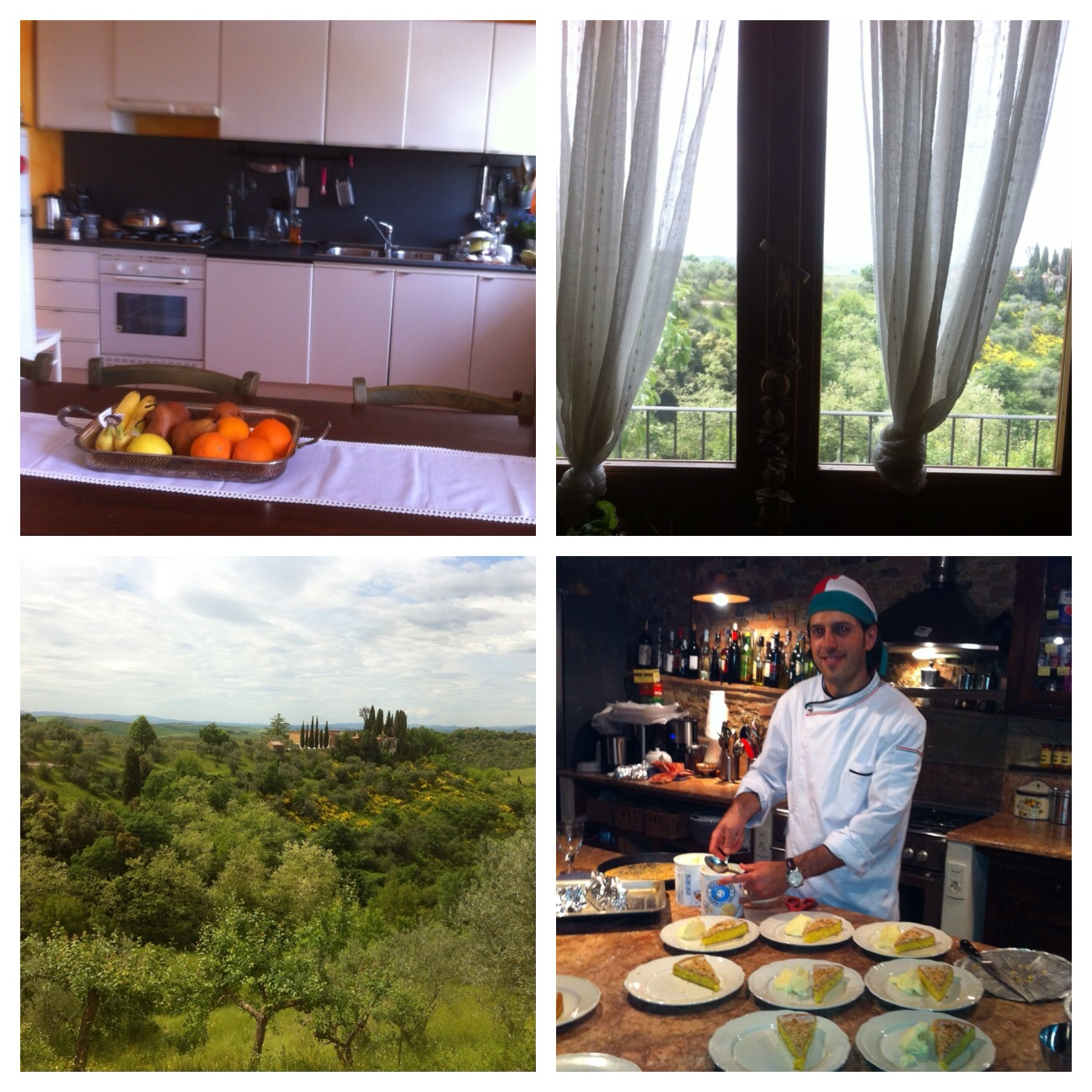 From top left: the kitchen, the views and Alessandro, the Tuscan chef.