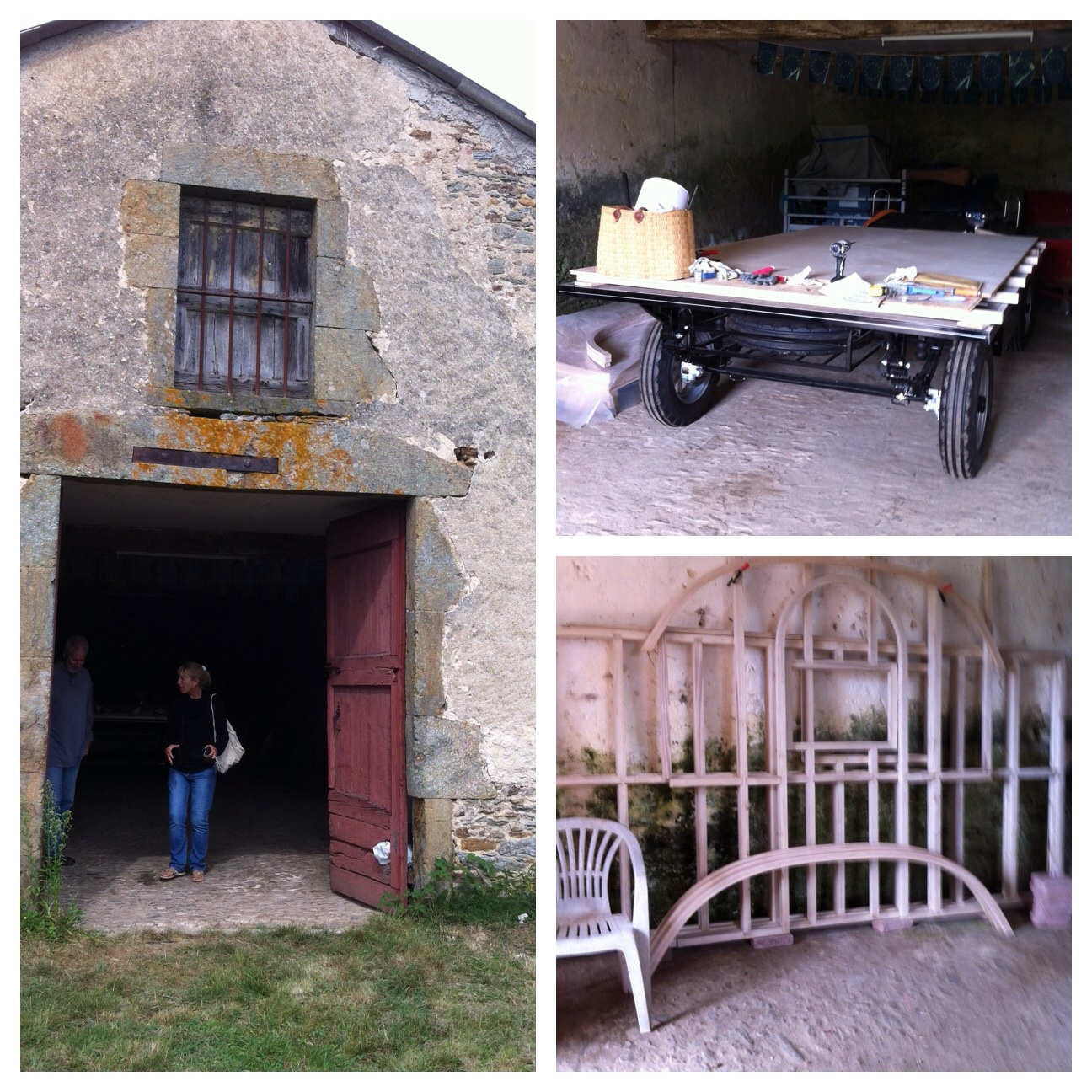 on the left is the barn and top right is the newly constructed wagon chasis and the bottom right is the back wall frame of the caravan.