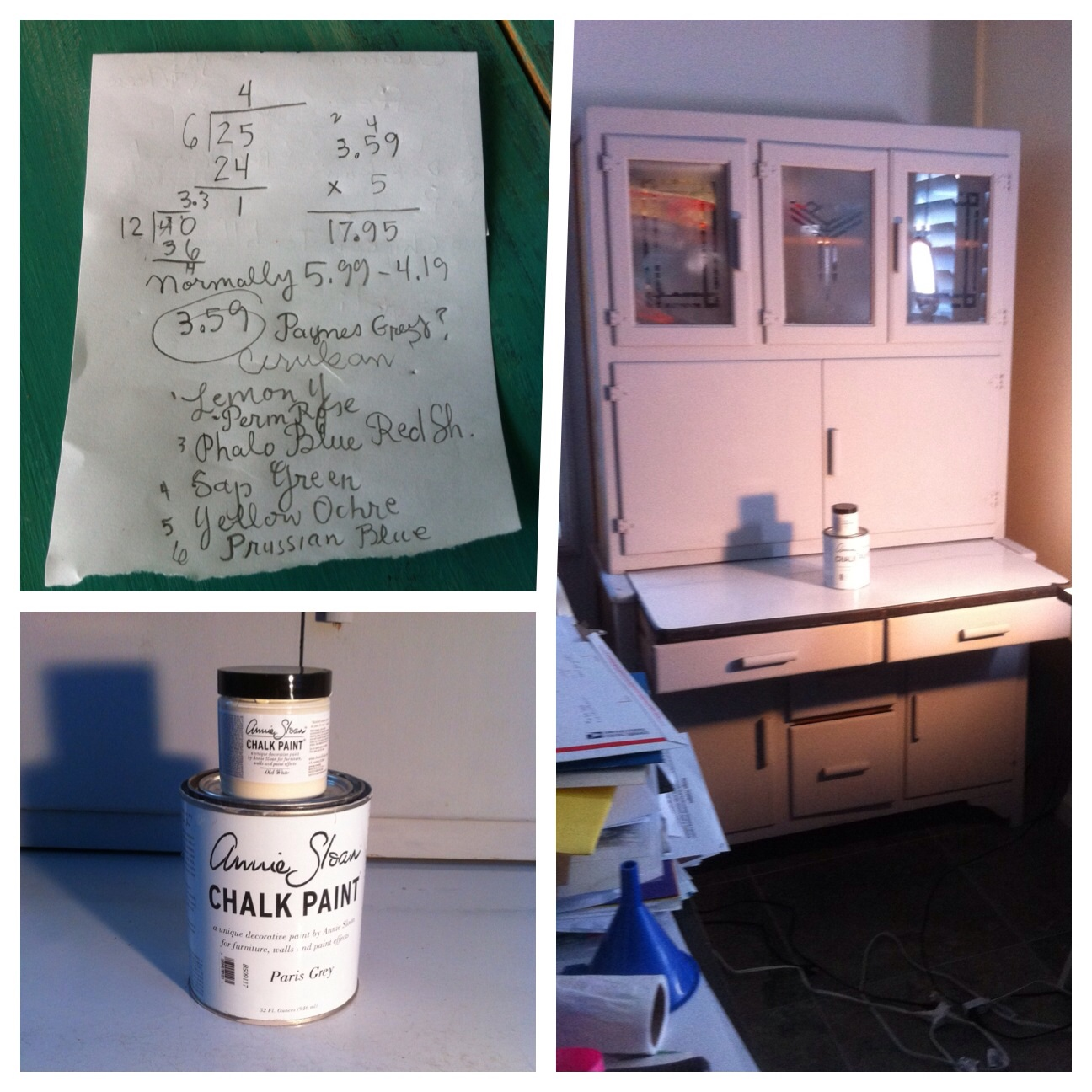 Left to right: My Winsor Newton Marker shopping list, my newly painted hutch in Paris Gray and the culprit, Annie Sloan chalk paint.