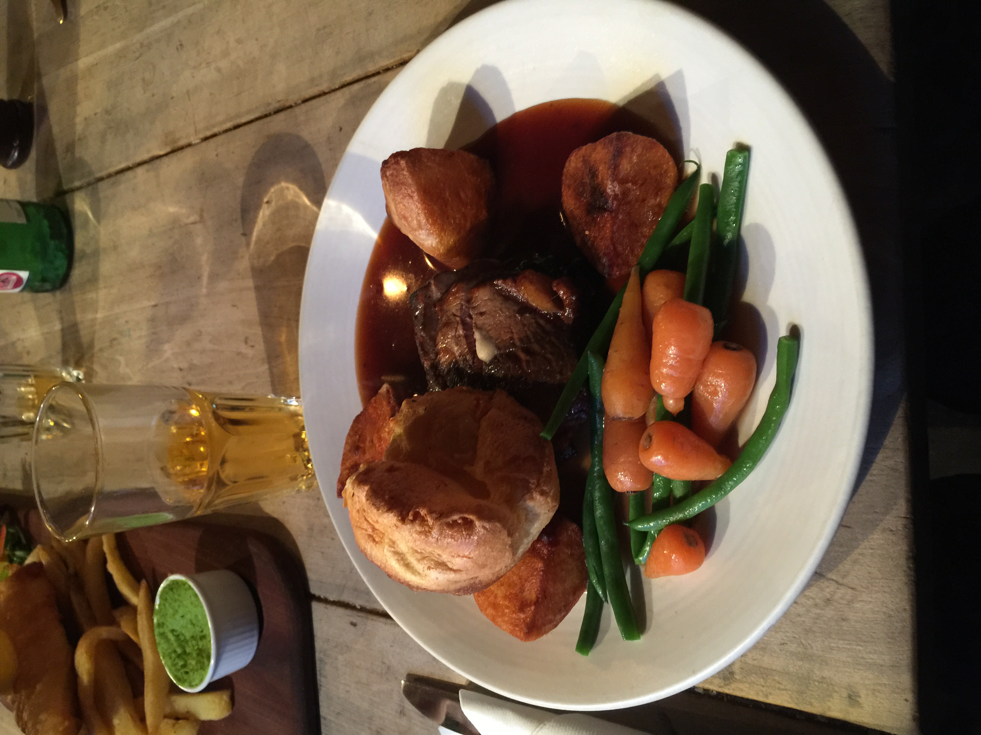 Yorkshire pudding, treacle glazed sirloin and cider