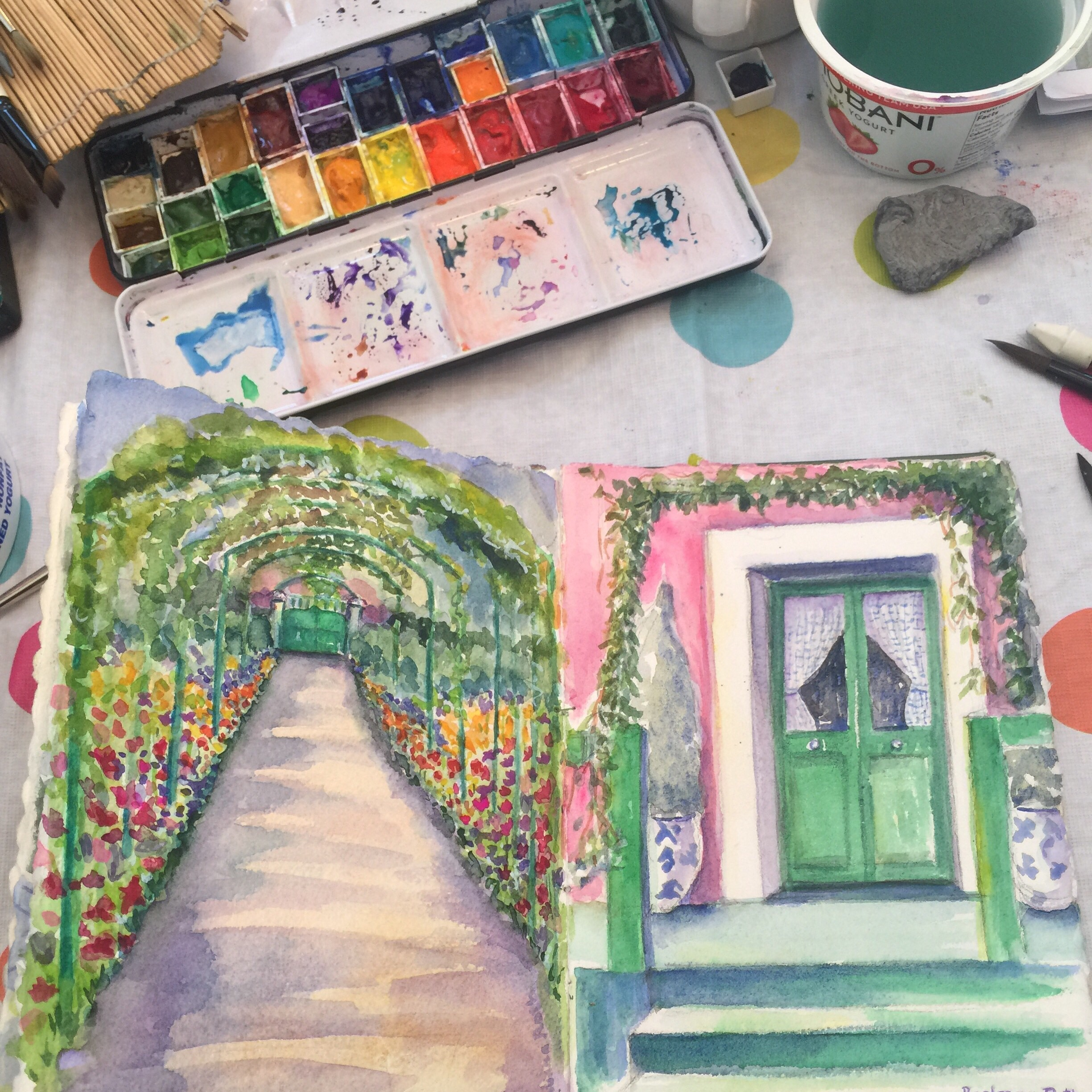 Paintings from Monet's Garden that I am working on today.