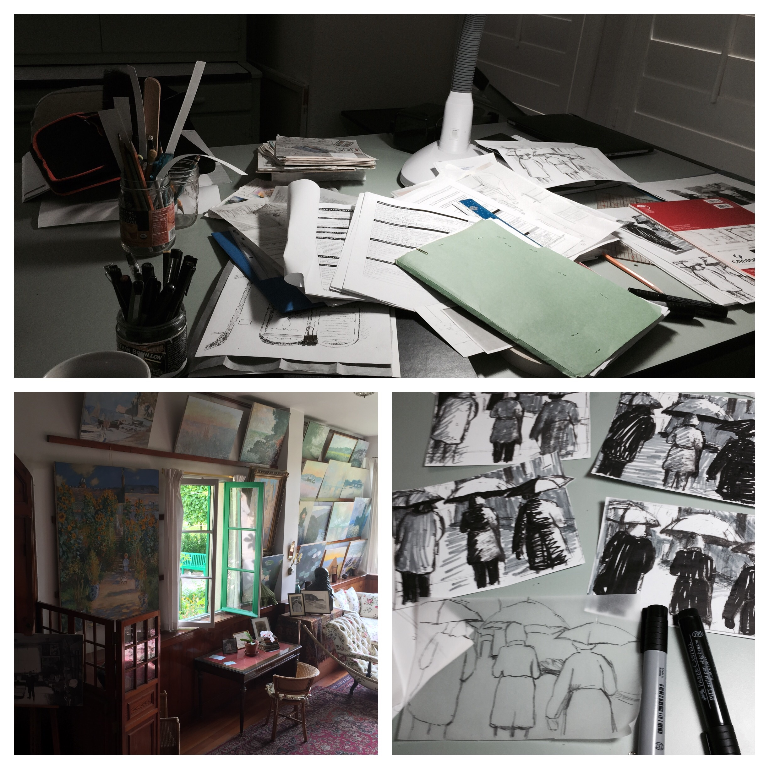 Top: my desk this morning. Bottom left: Claude Monet's desk in his studio in Giverny, France, he must have cleaned it up recently. Bottom right: my current project value sketches.