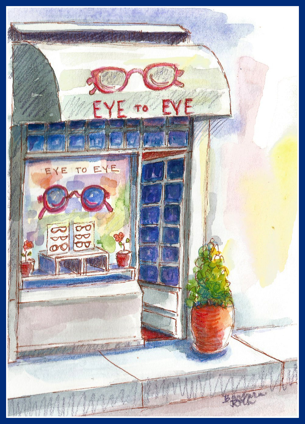Painting of a Paris Eye Glass Shop by Barbara Roth, inspired by we don't really know......................