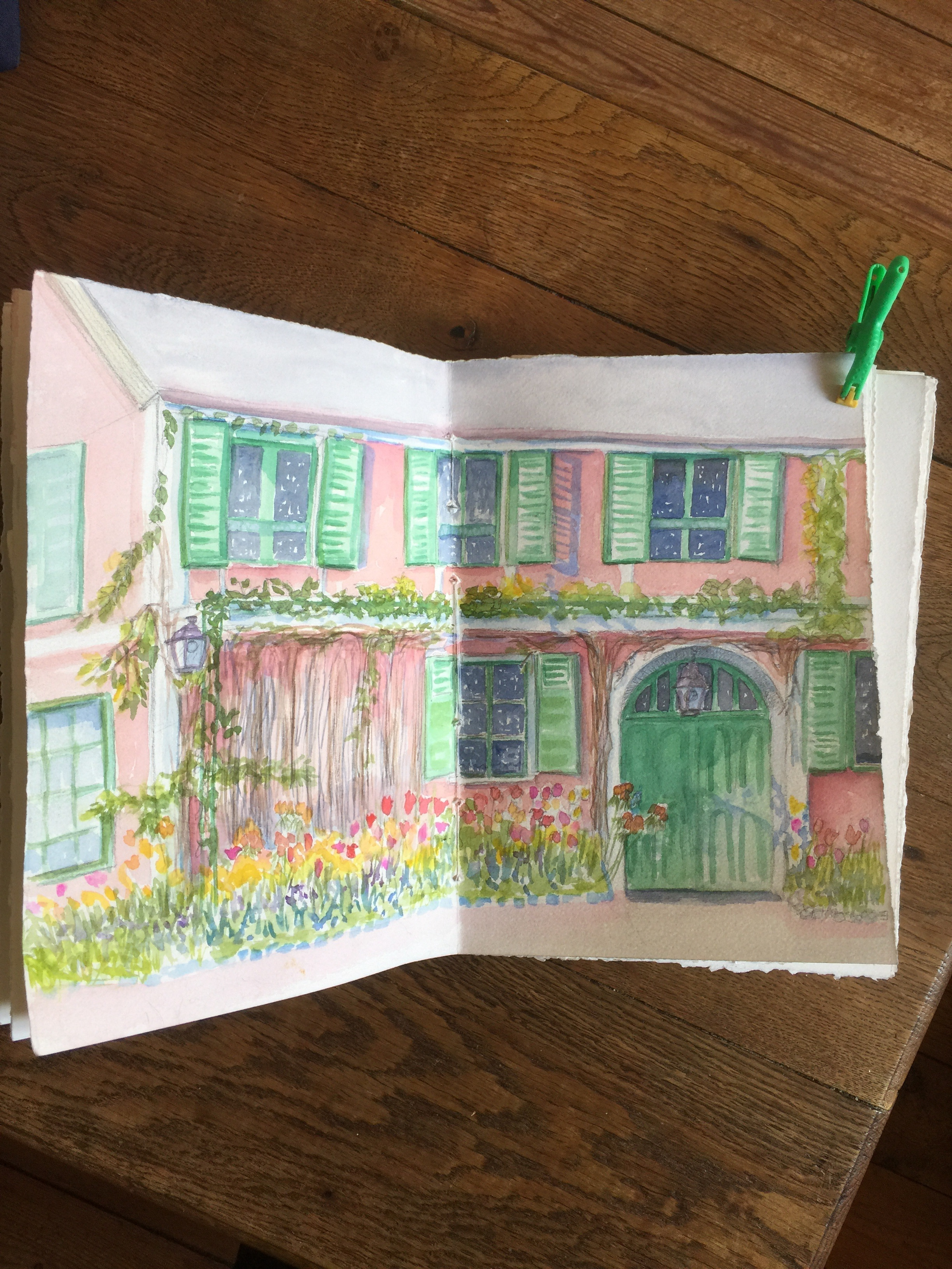 My attempt to capture Monet's home in my watercolor journal.