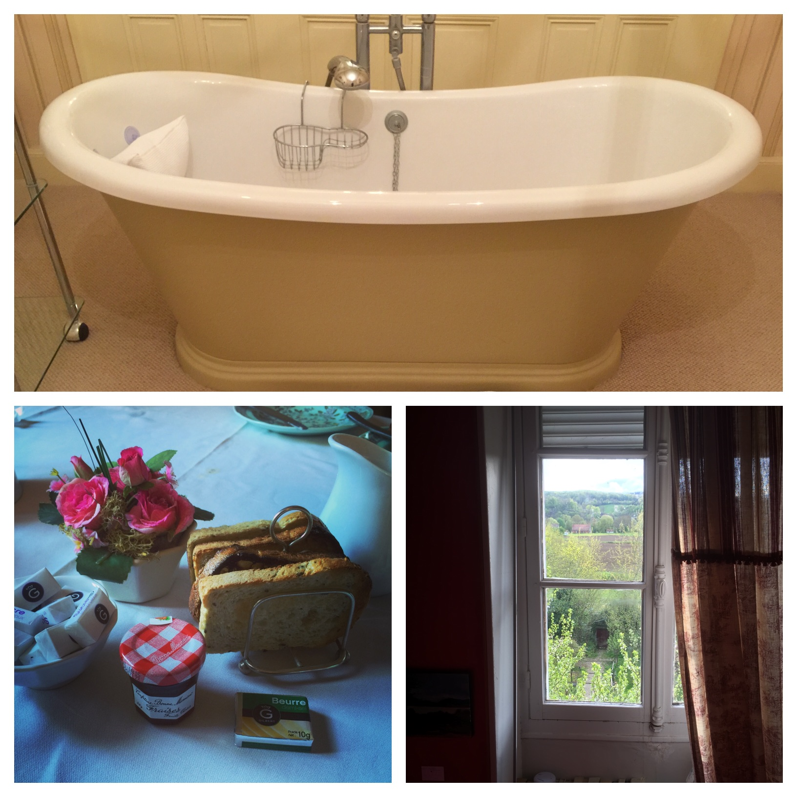 Top: Notice the pillow in the bathtub, the toast stacked neatly in it's own rack and the view out the window of the French countryside.