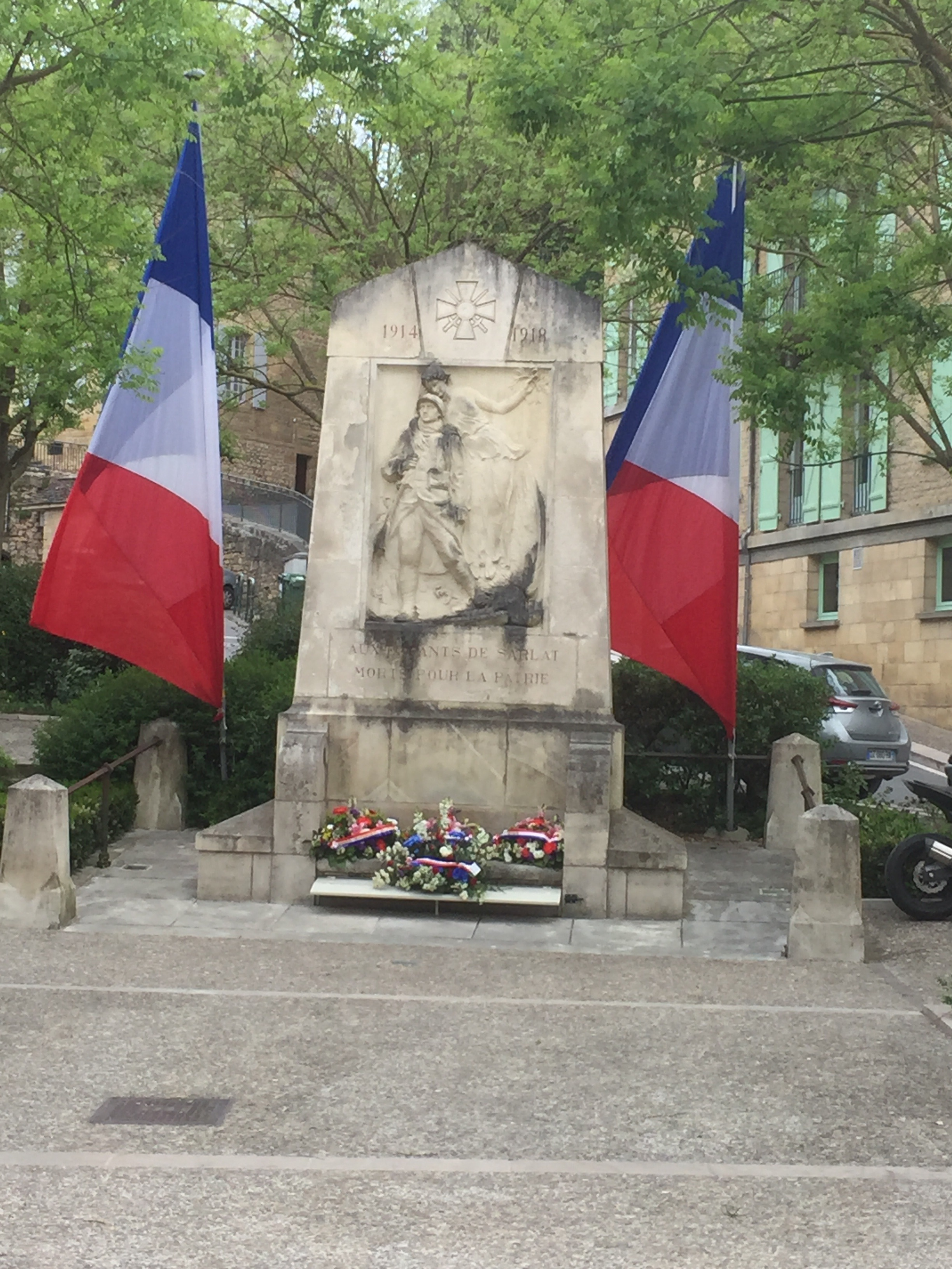 V E decorations on the monument in the Square of May 1945 in front of our hotel.