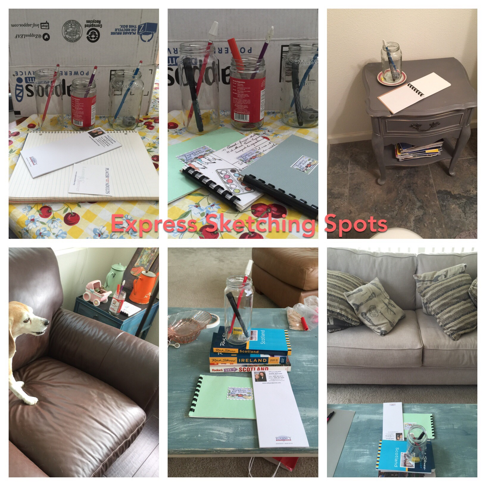 Place your drawing supplies in locations where you sit around your house.