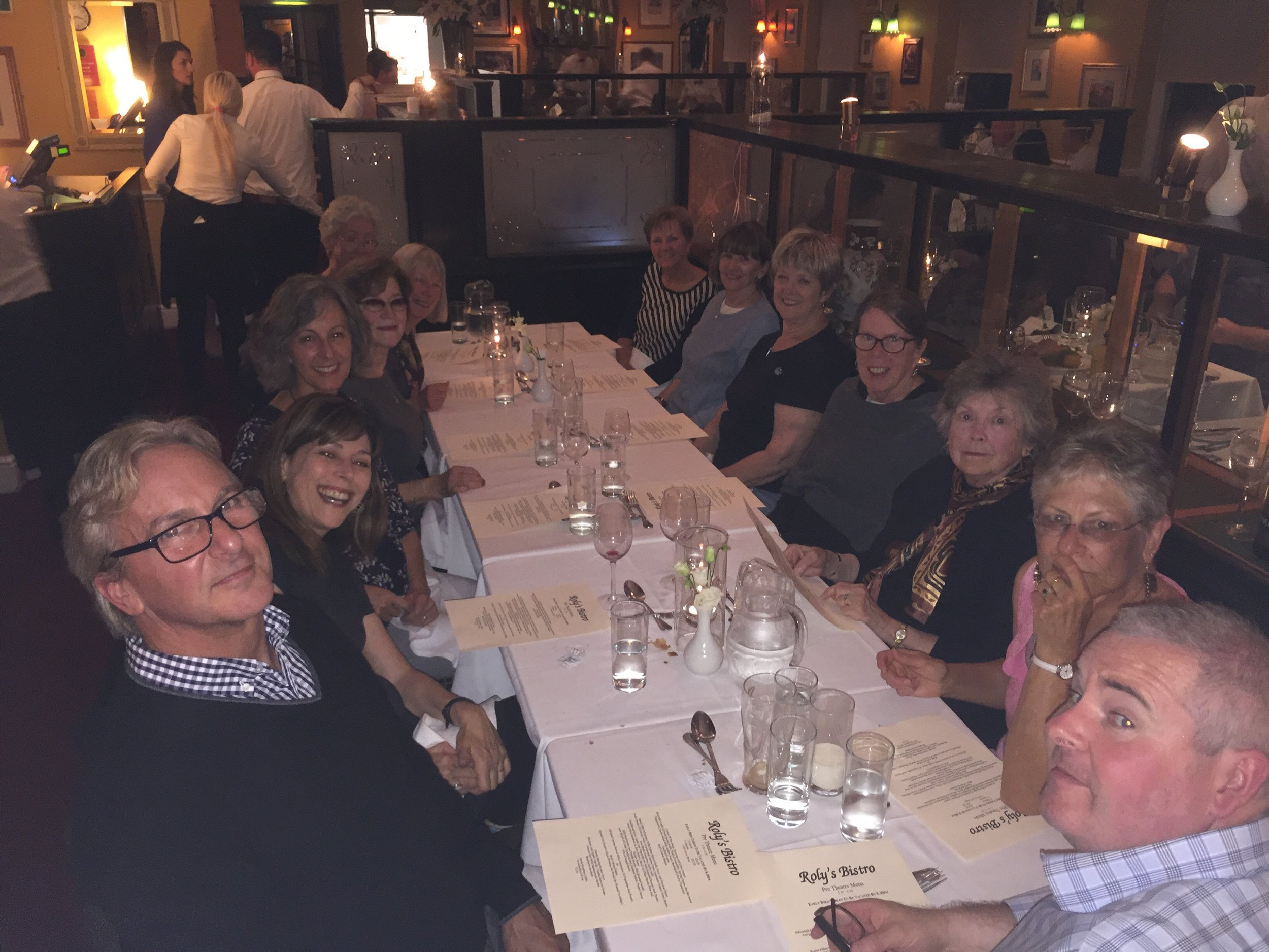 Everyone enjoying the dinner. On the right is Owen Flynn, our knowledgable driver and guide. He made the history of Ireland come to life for us.