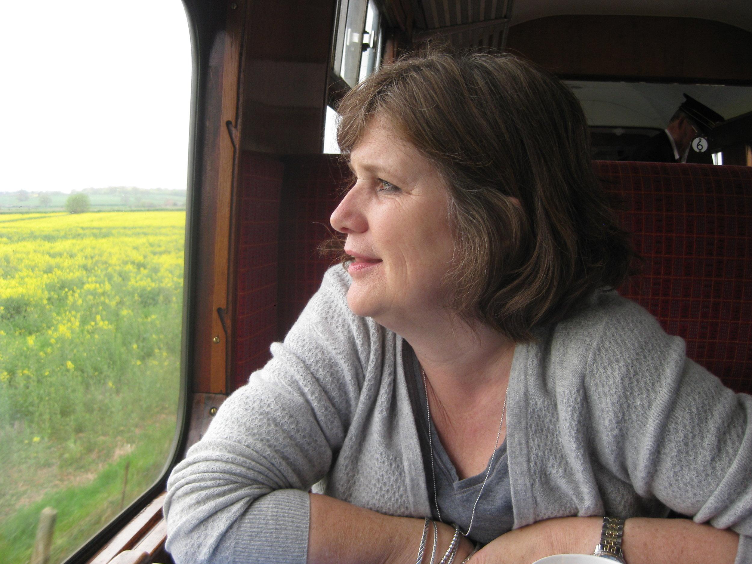 Dana Delman on the steam train in SW England.