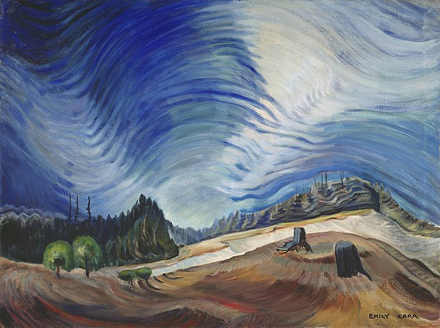 This is a painting by Emily Carr called the Gravel Pit.