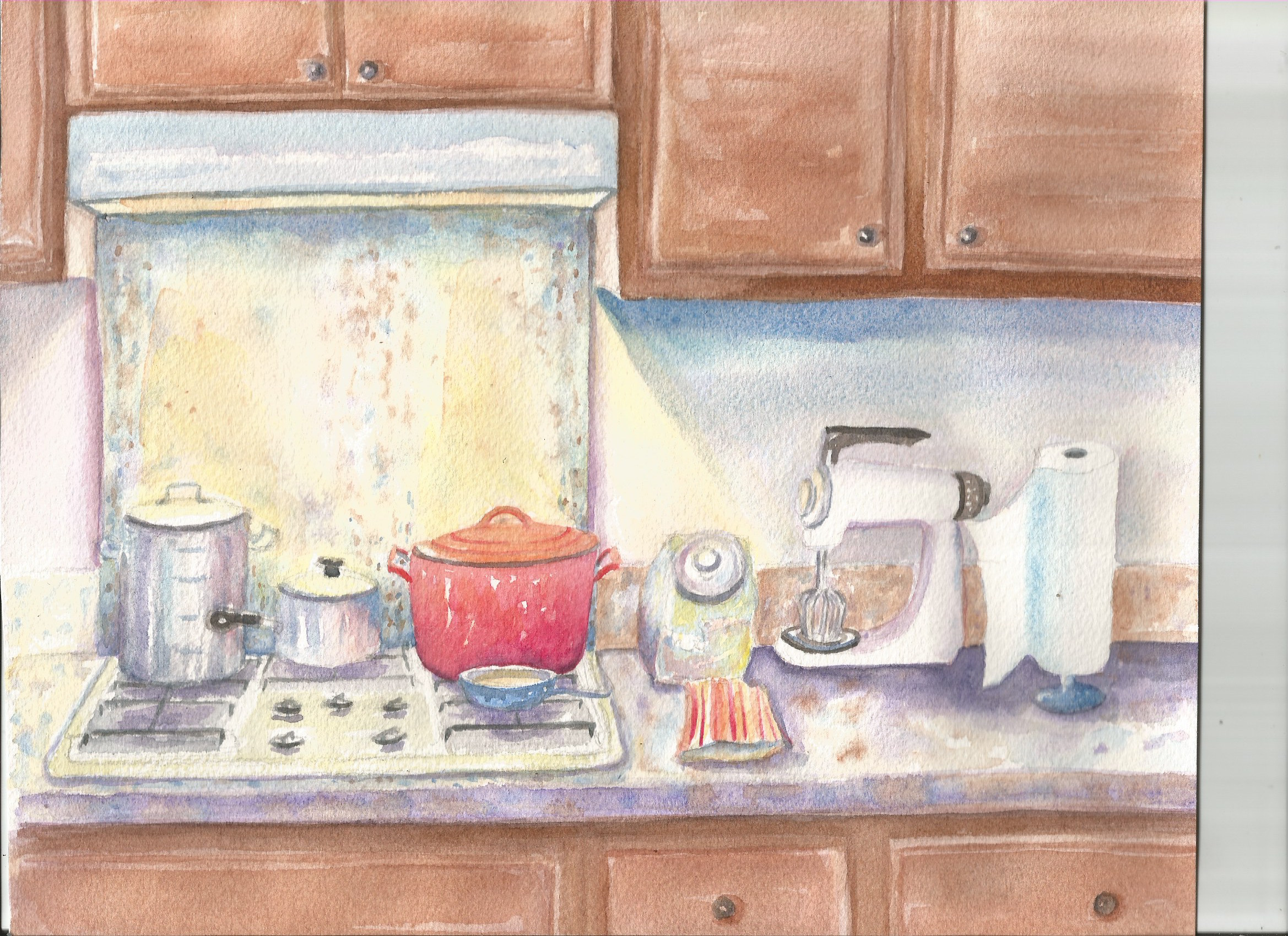 In class you will learn all the basics so you can paint what you see around you where ever you are! I painted this in my kitchen late one night.