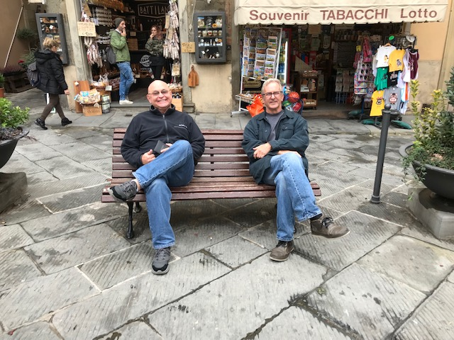 Rick and Max hanging out in Tuscany, Nov. 2018