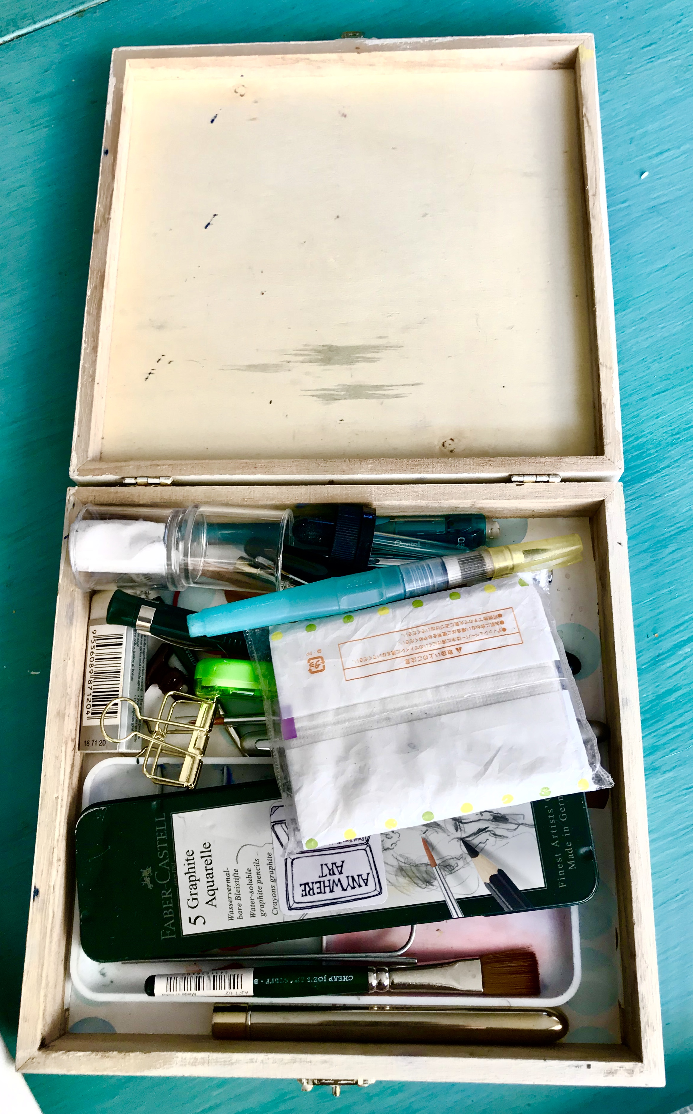 Inside the travel box