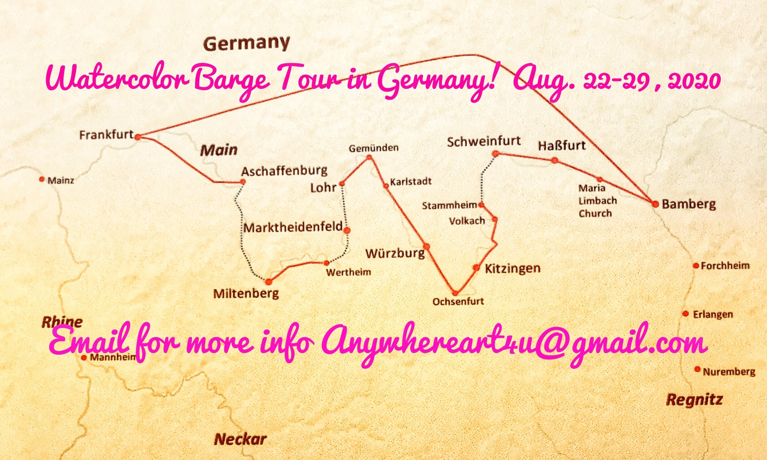 This map shows the route we will sail along and the towns we will visit in Central Germany.