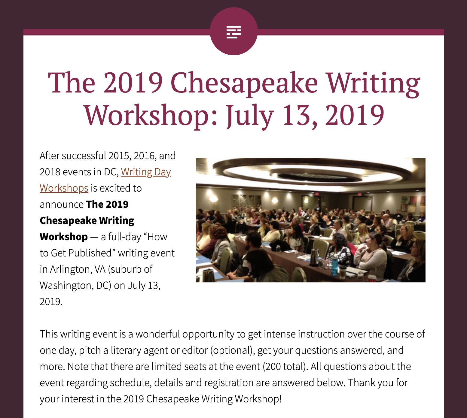 Upcoming Workshops In Arlington >> Teaching And Page Critiques At The Chesapeake Writing Workshop In