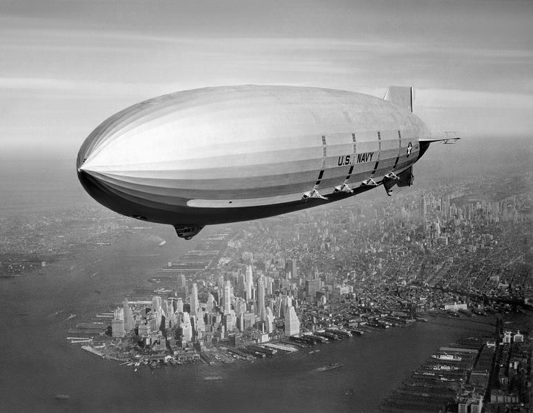 The aircraft-carrying US Navy long-range scouting airship, the USS Macon.