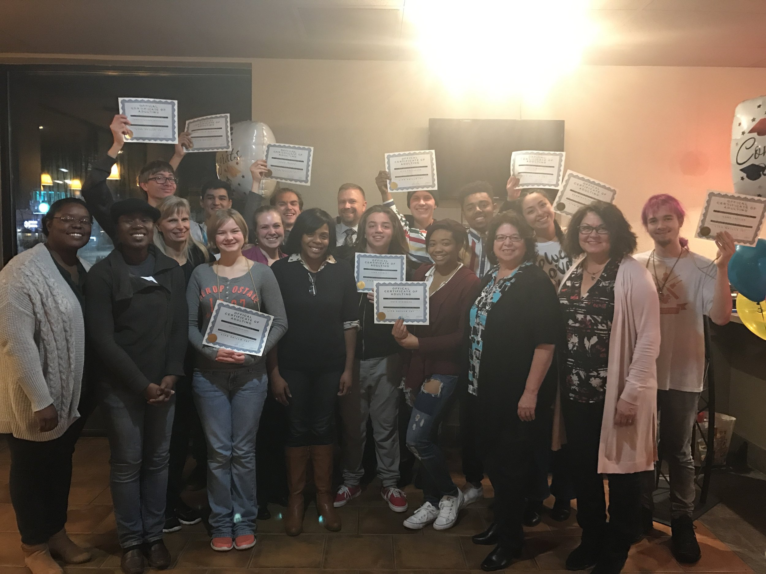 At Life Skills 101, one of our local PEACE Initiatives offered at the PEACE Center, participants learned and practiced public speaking, how to change a tire and more! Pictured here are Life Skills 101 graduates and teachers.