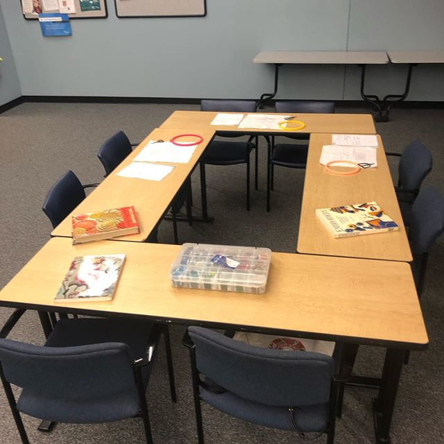 All set up for my Embroidery for Stress Relief class!