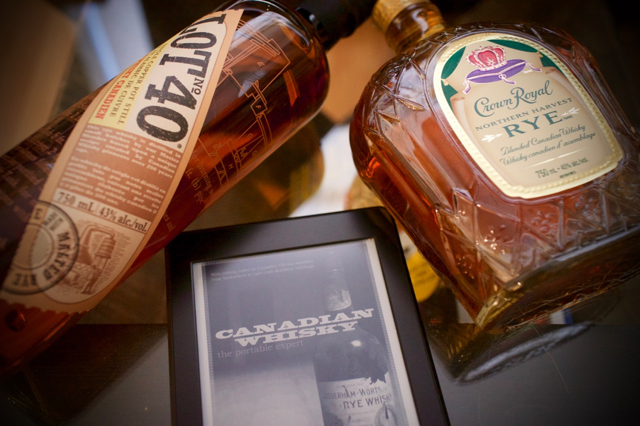 Canadian whisky starter pack with Lot No. 40, Crown Royal Rye, and Canadian Whisky: The Portable Expert