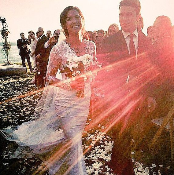 Alex Morgan - American soccer player Alex Morgan stunned in her Berta Bridal gown from Mon Amie Bridal Salon.