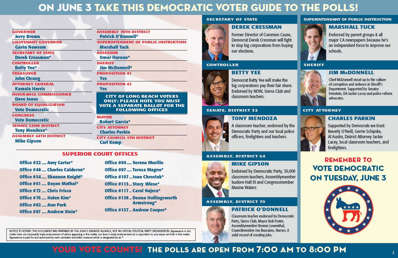 Democratic Voter Guide, Inside