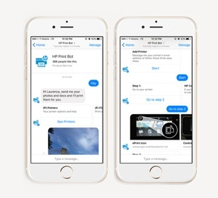 COMPETITIVE SURVEY - HP is using a Facebook Messenger bot to allow consumers to print their photos, documents, and files to any connected HP printer. It also helps customers set up HP Connected and receive notifications to re-order toner cartridges.