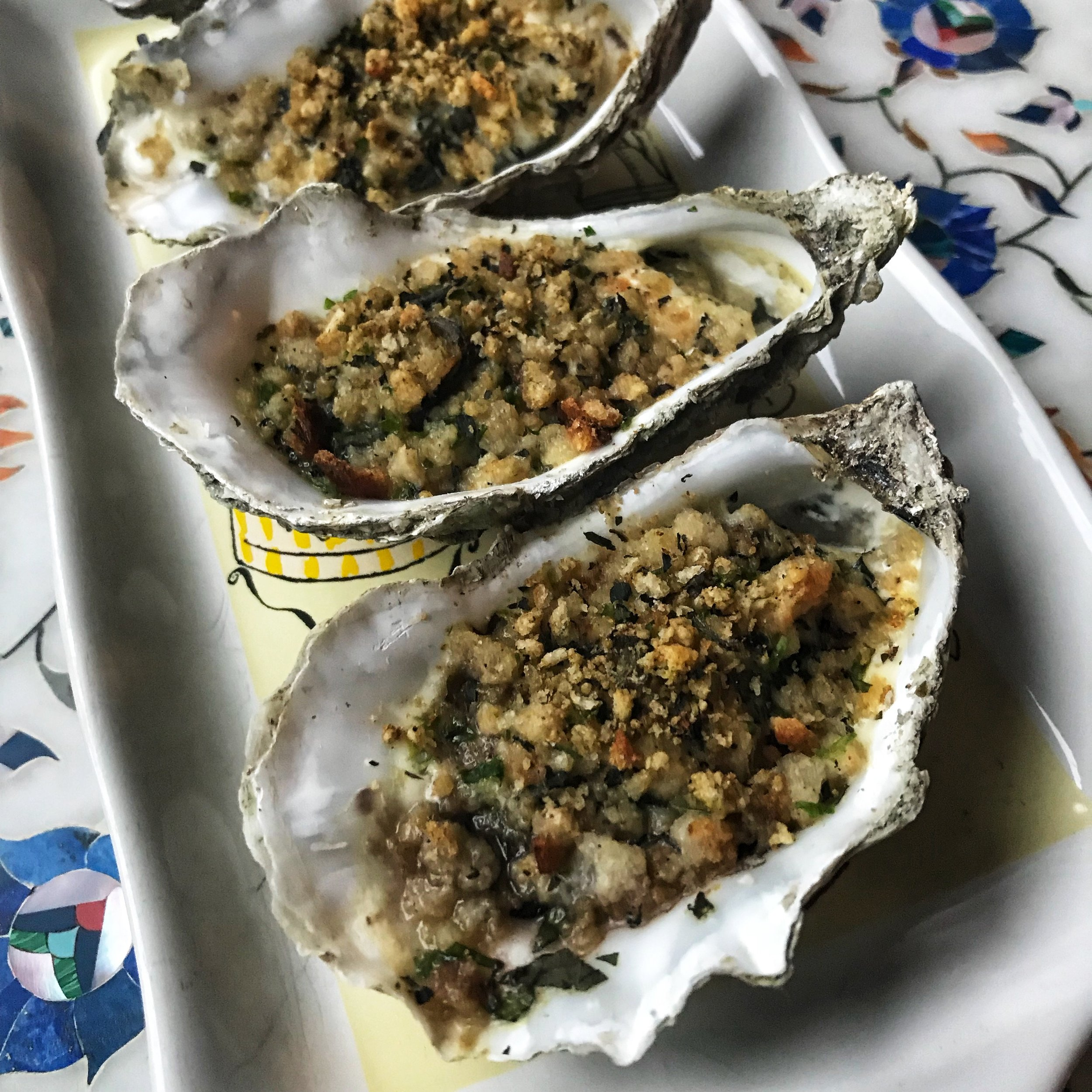Baked Oysters - With a Sea Grass, Mint and Marjoram Bread Crumb and Buttermilk Sauce