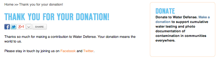 Screen Shot of my receipt for the donation of $108 to WaterDefense.org