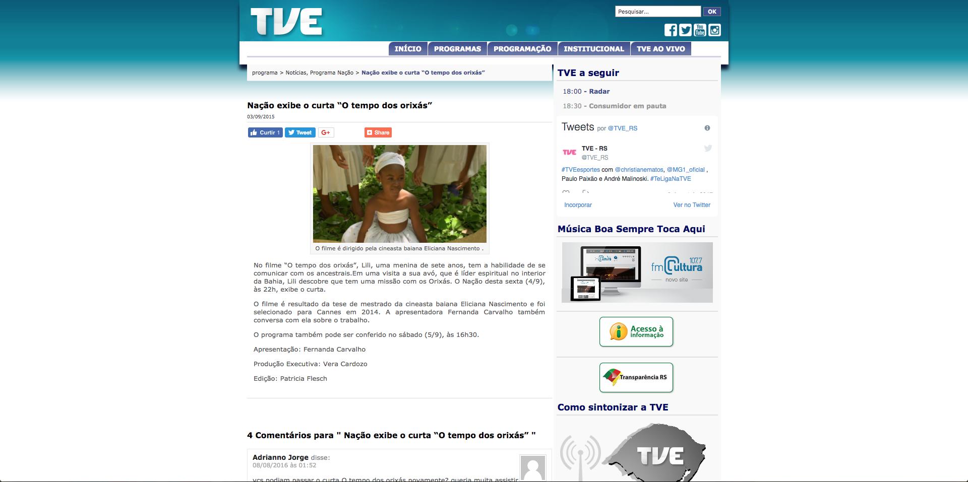 Source:  TVE-Bahia , September 3rd, 2015