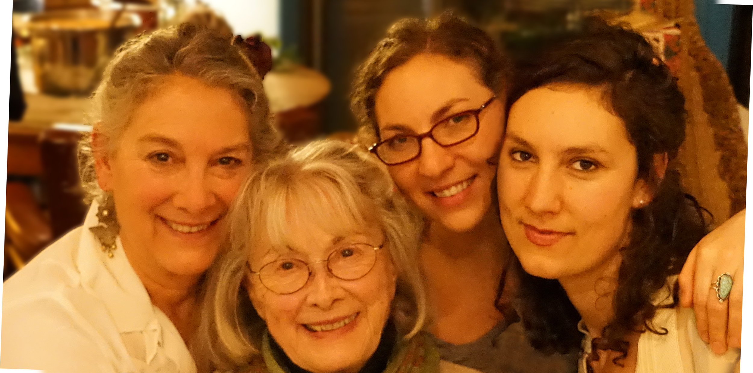 2014, Linda Wolf with her mother, poet, Barbara Wolf, and daughters Genevieve Smeeth and Heather Wolf