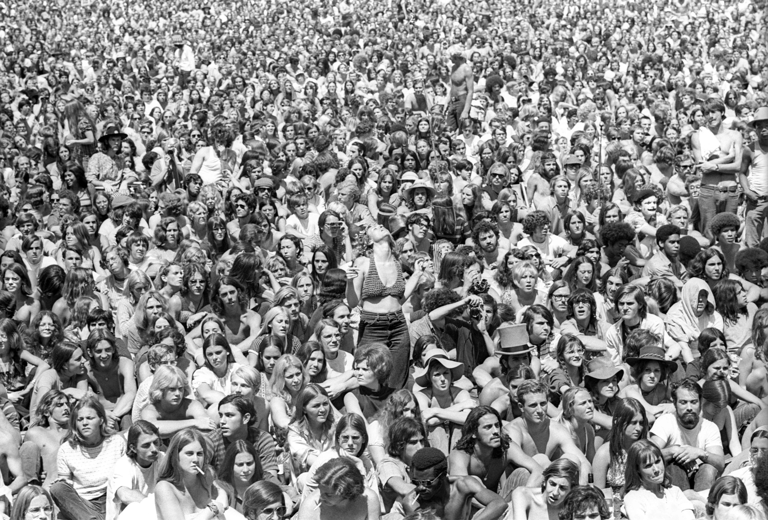 Audience (photo by Linda Wolf, 1970) at the Leon Russell/The Who Concert - Anaheim Stadium, Los Angeles, CA. (All Rights Reserved)