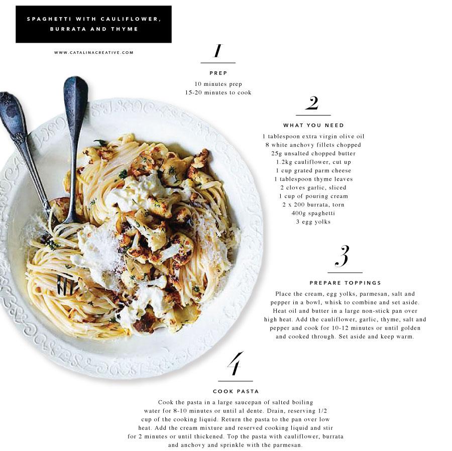 Spaghetti with Cauliflower, Burrata, and Thyme on Catalina Creative