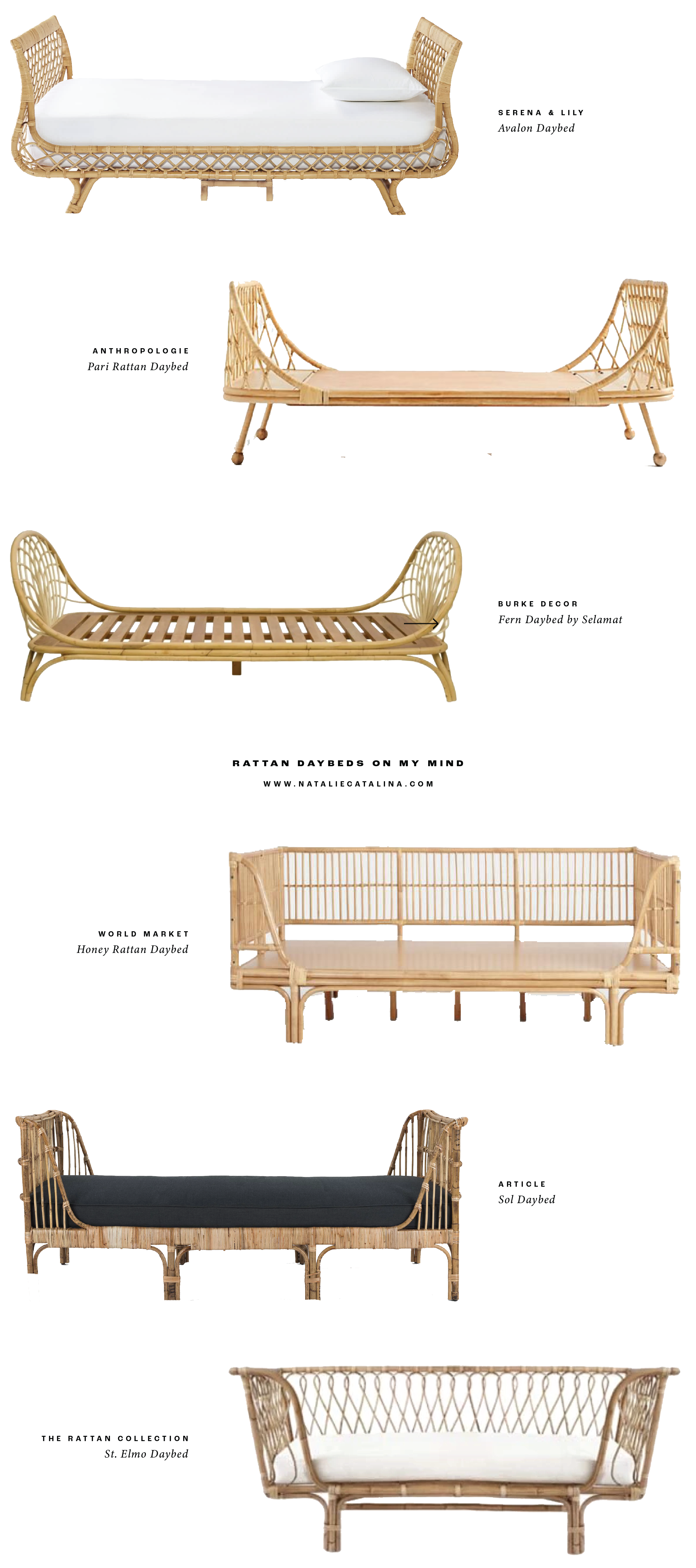 Rattan Daybeds on Natalie Catalina