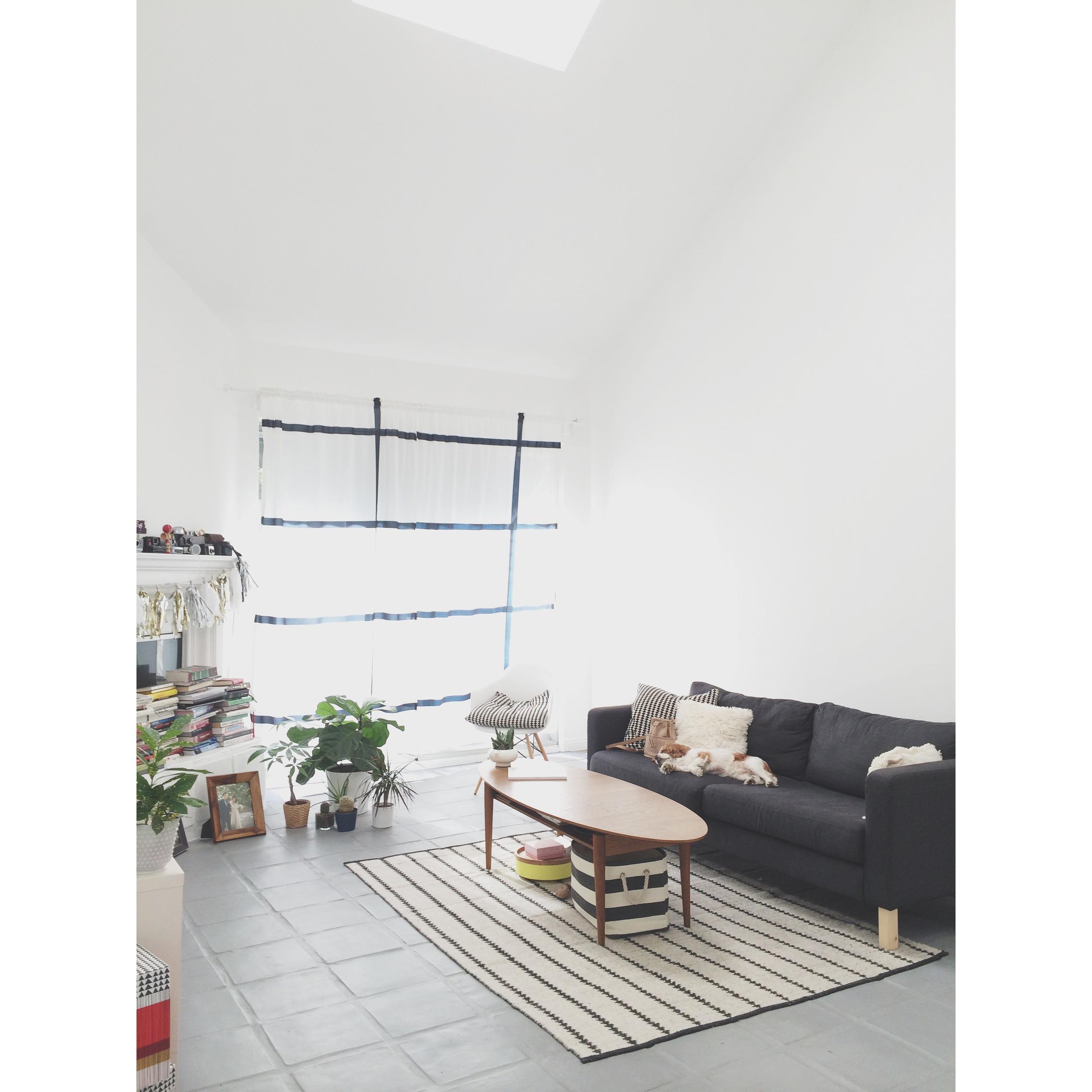 Ikea Karlstad Sofa & Stockholm Coffee Table (older version) both craigslist scores, Nate Berkus Reversible Rug from 2012/2013 season.