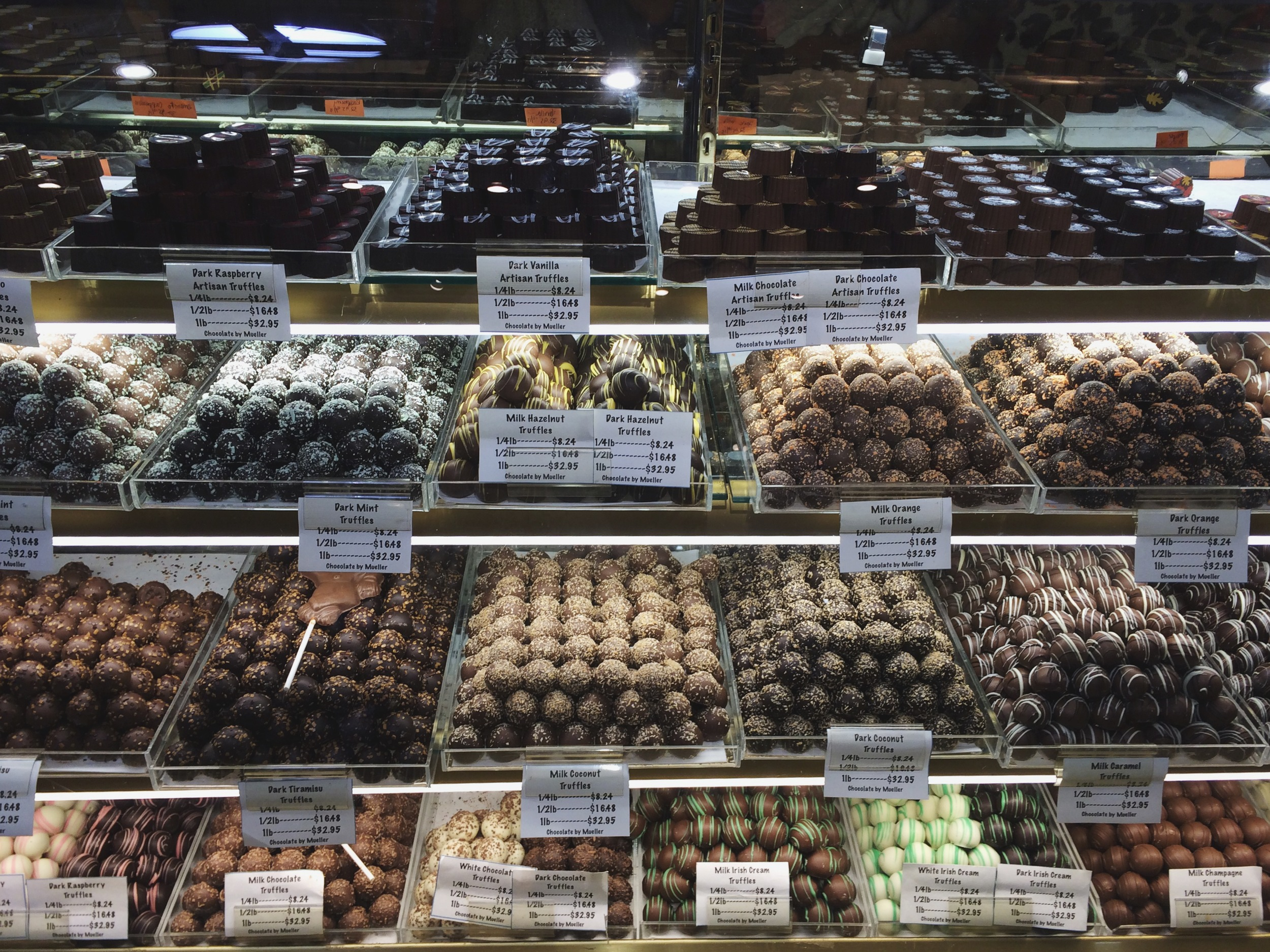 Mueller Chocolate at The Reading Terminal Market.  NOT for the faint hearted. Literally.