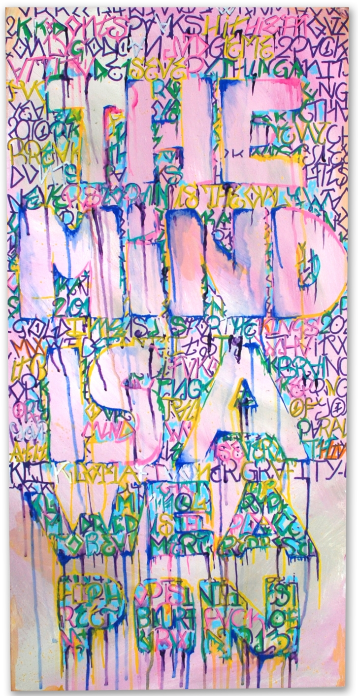 "The mind is a weapon -   36"" x 18"" -   Acrylic on canvas -   $200"