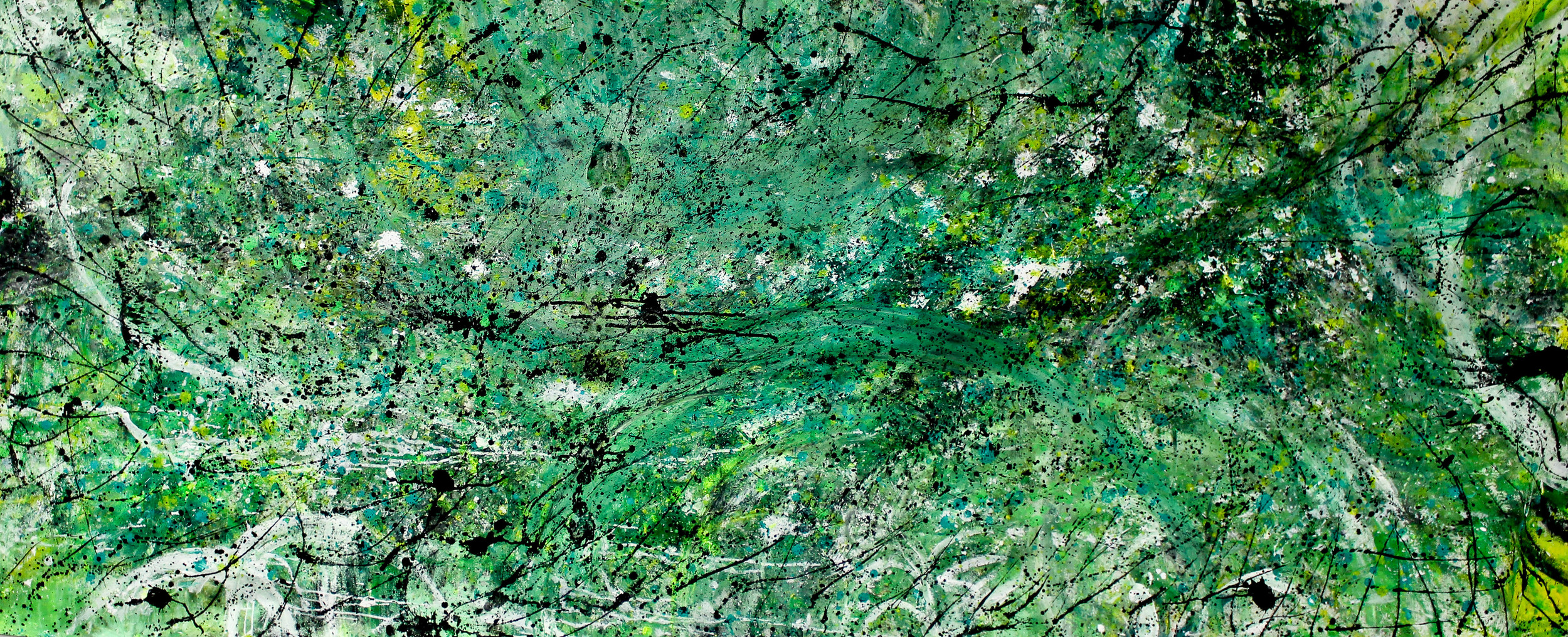 Untitled - 47″ x 112″ - Canvas, Acrylic paint, oil pastels, textile ink paint - $199