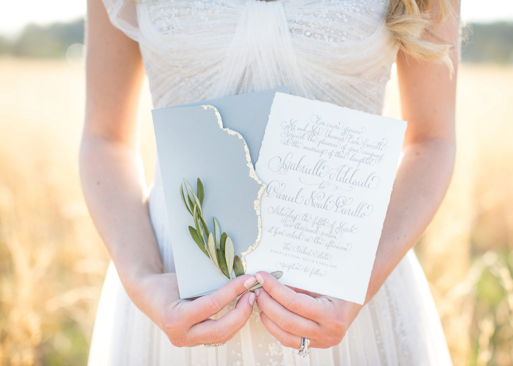 hand-lettering calligraphy wedding invitations