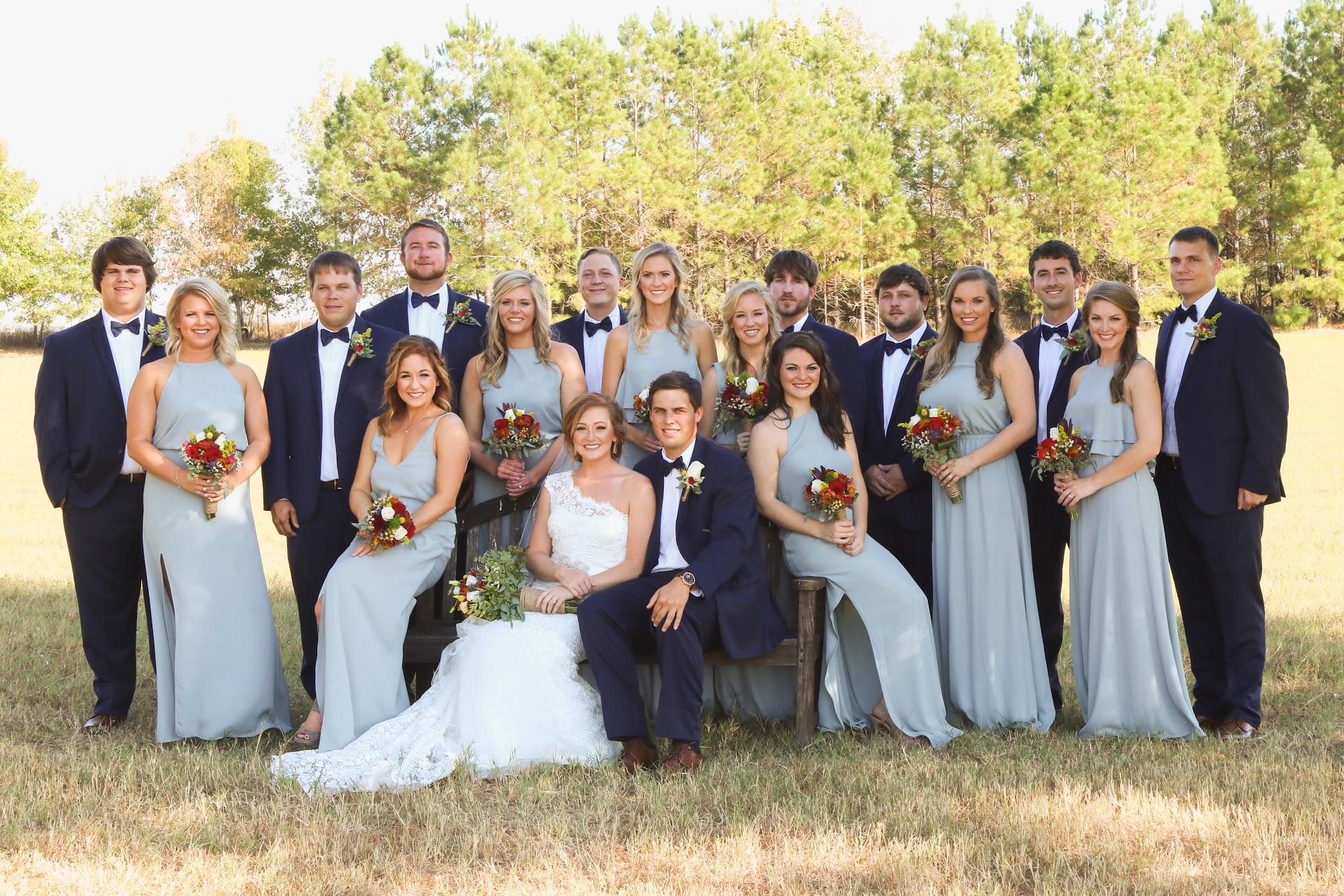 wedding party portrait wedding party in field