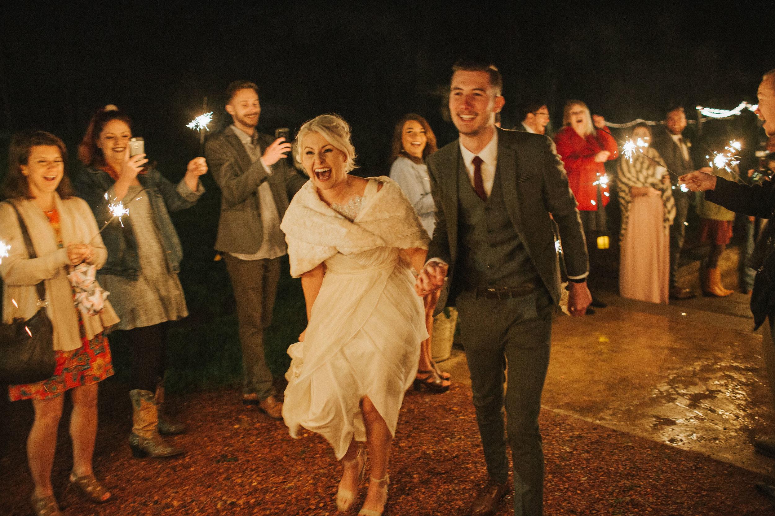happy couple wedding reception send off