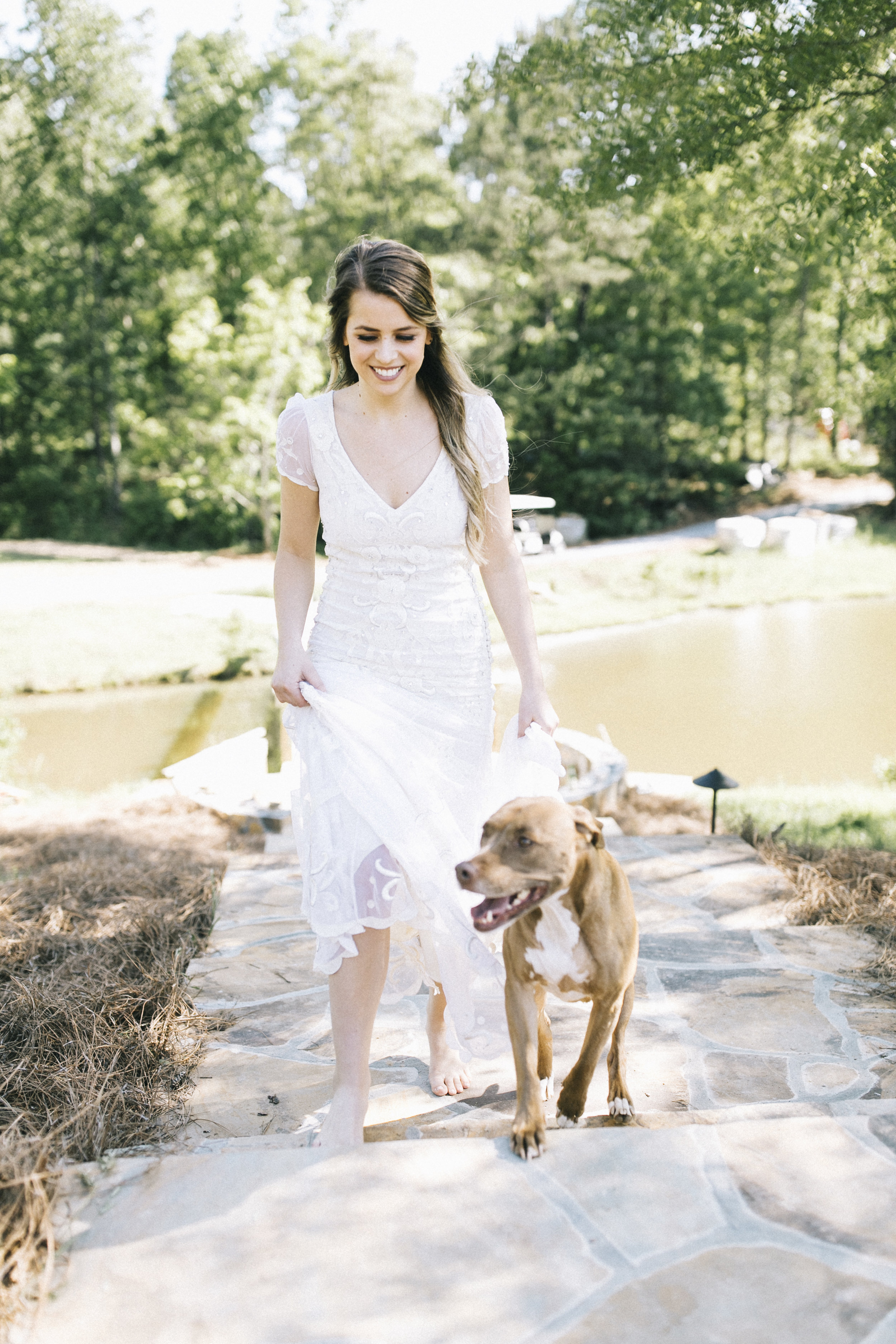 white wedding dress dog escort