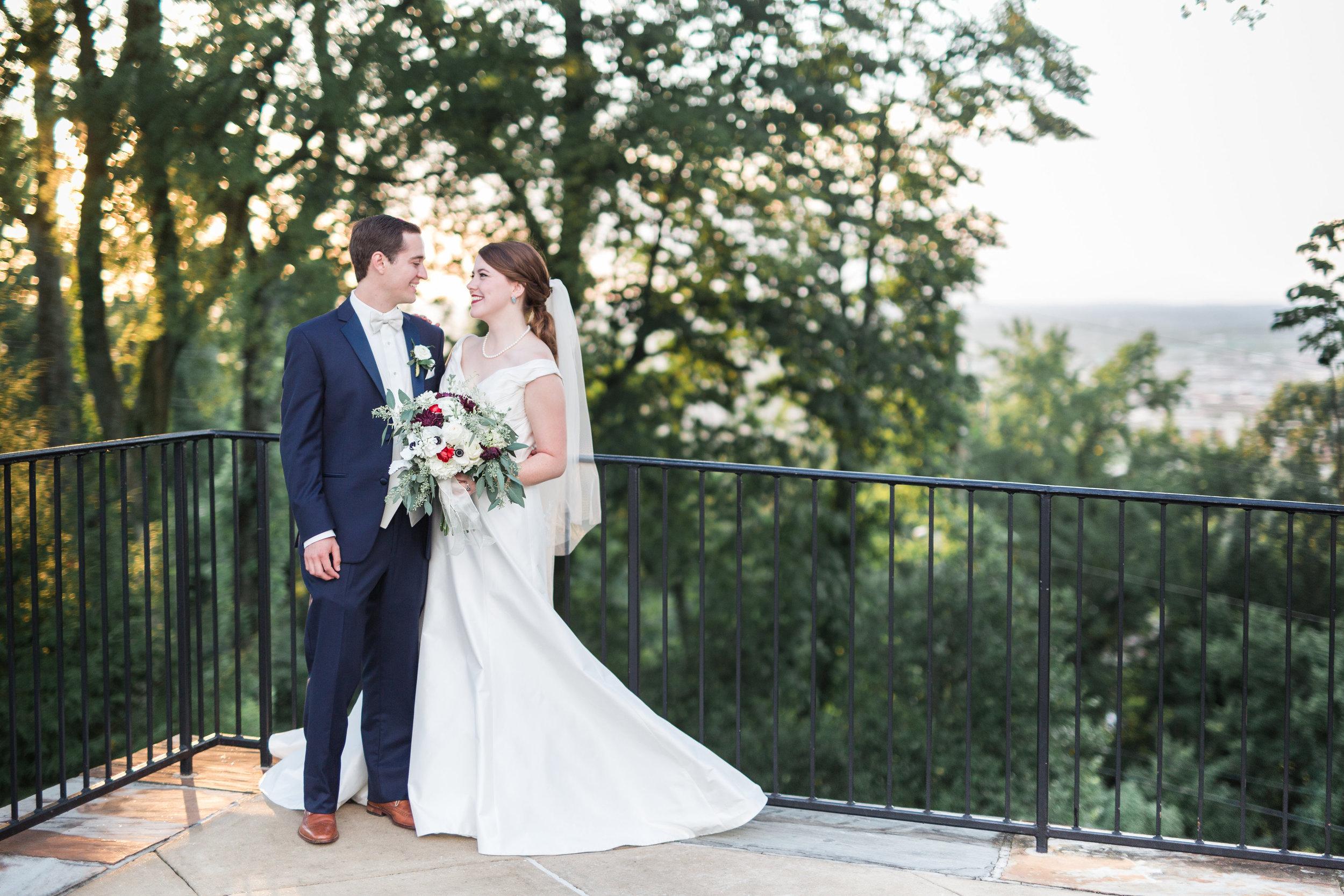 summer wedding bride and groom portrait