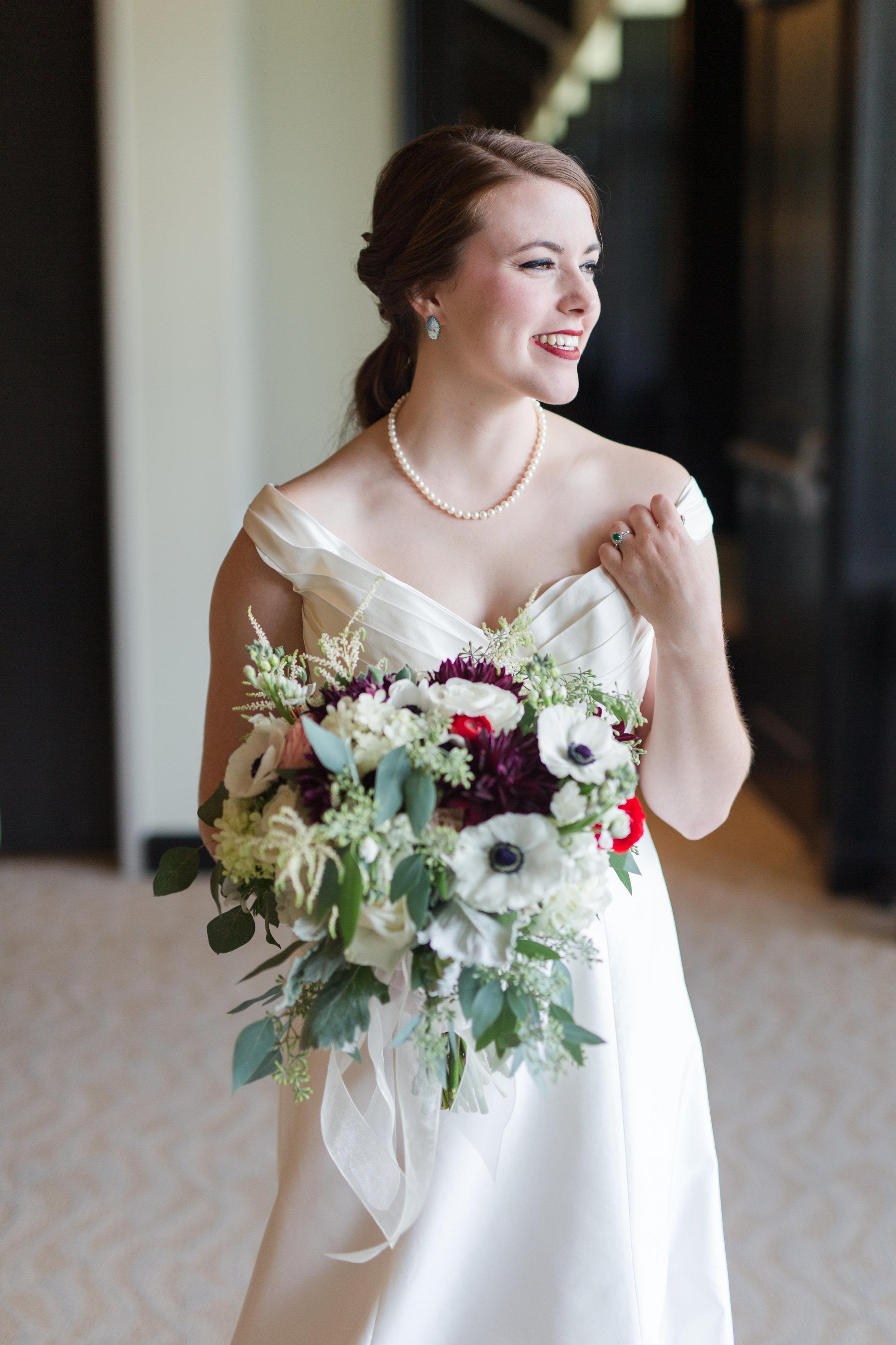 white wedding gown bridal portrait