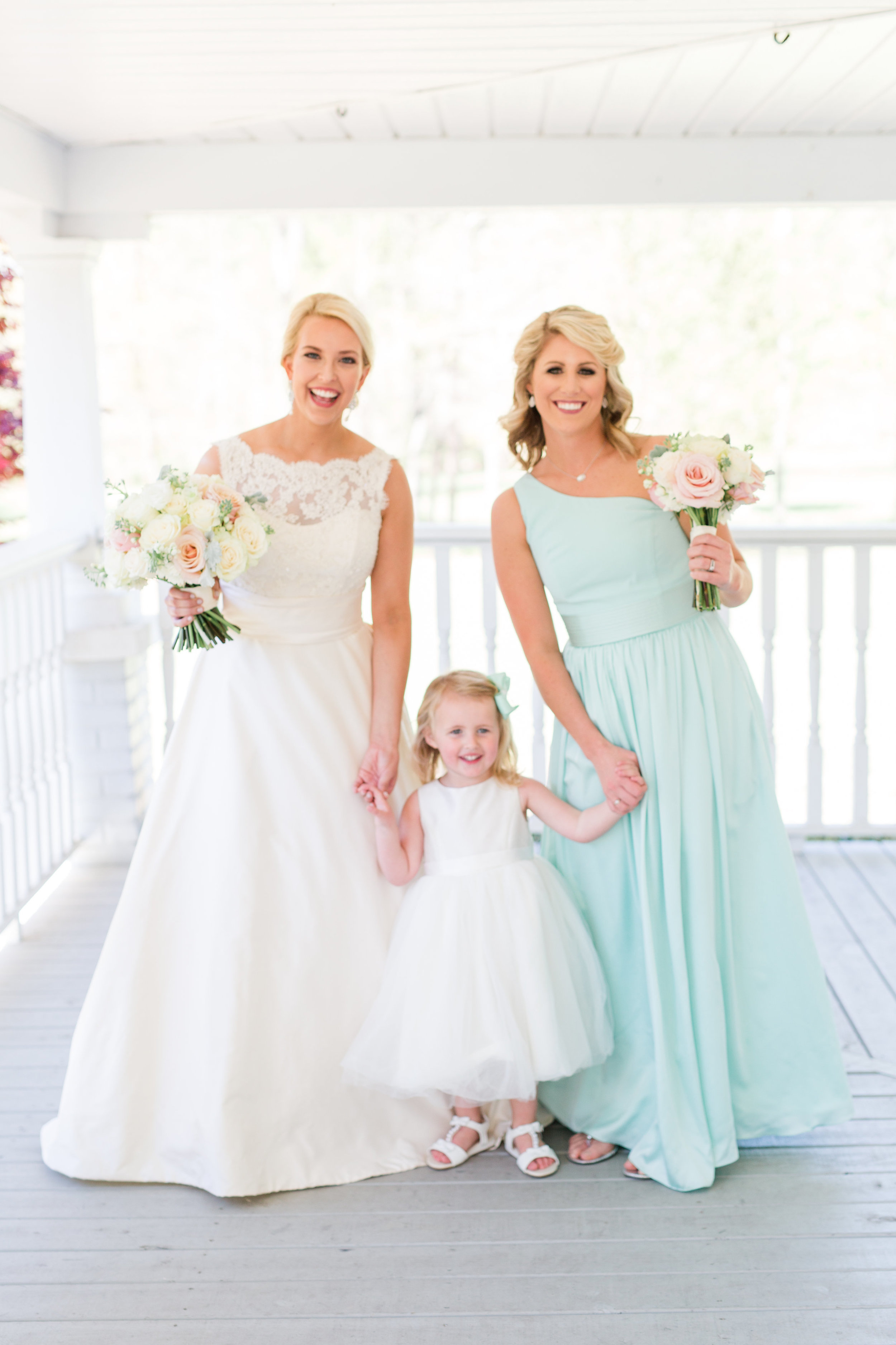 bride bridesmaid and flower girl