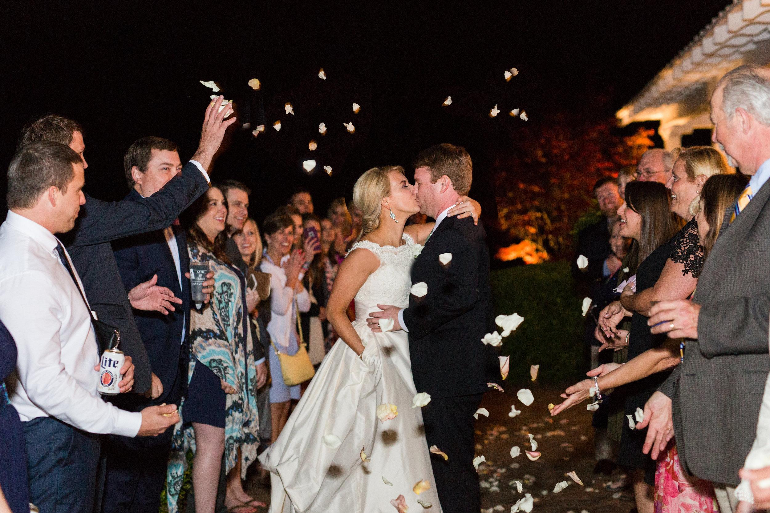 bride and groom send off