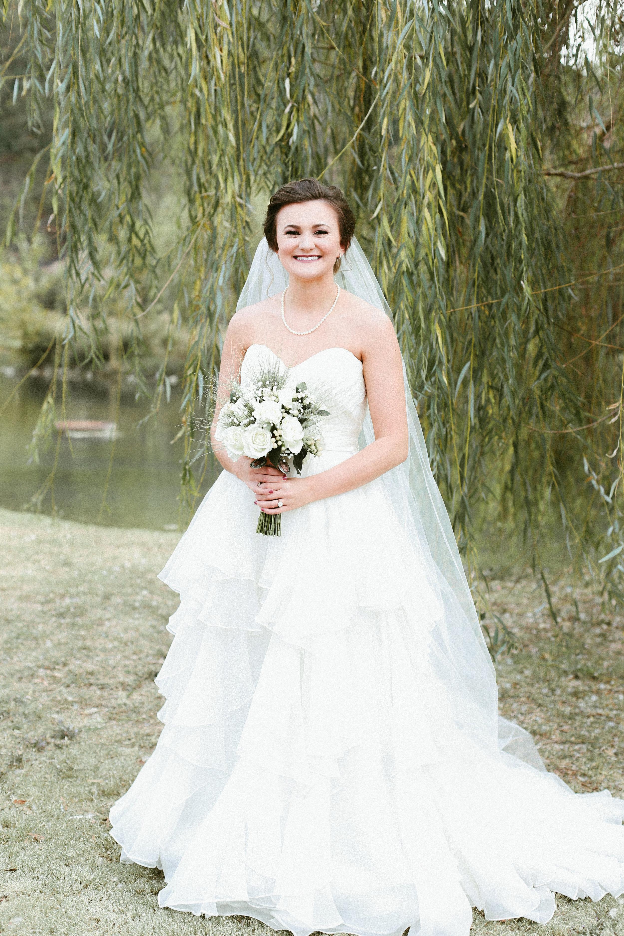 white wedding dress bridal portrait alabama wedding