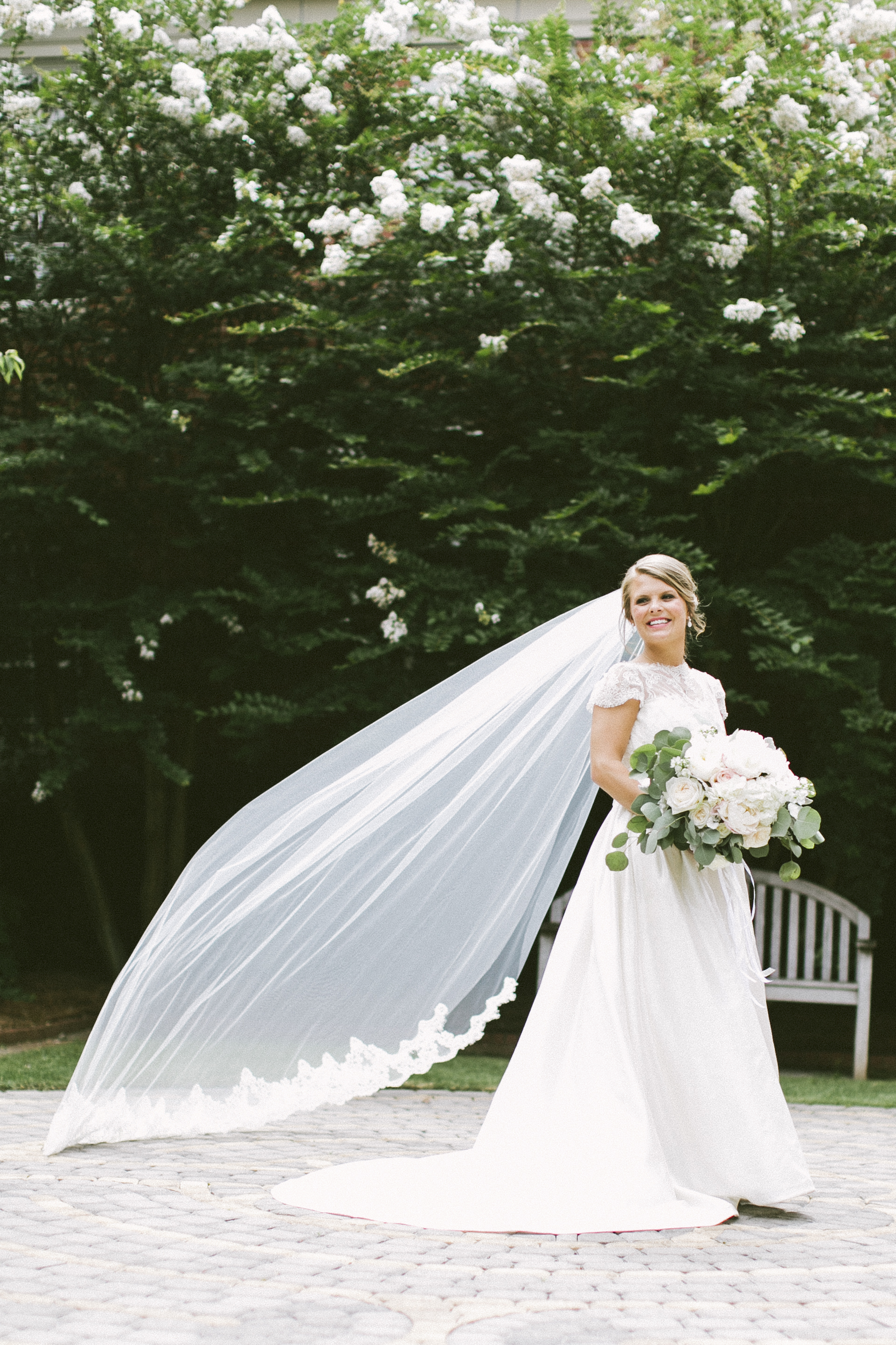 white wedding dress alabama wedding bridal portrait